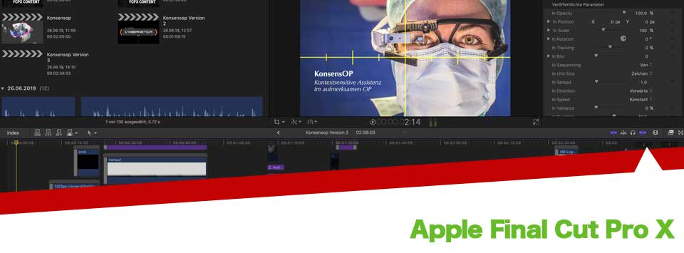 Apple Final Cut Pro X Cutter Deutschland, Apple FCPX Karlsruhe, Postproduktion für Werbefilme aus Karlsruhe, Postproduktionsagentur, Videoschnitt Karlsruhe